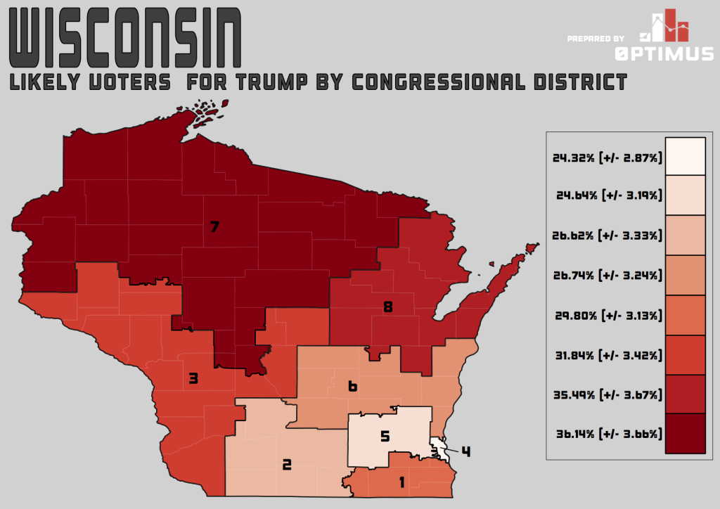 Map of Trump Favorability Across Wisconsin Congressional Districts